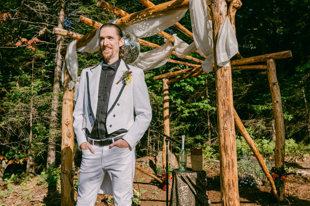 Punk Rock Groom waiting for Bride on wedding day
