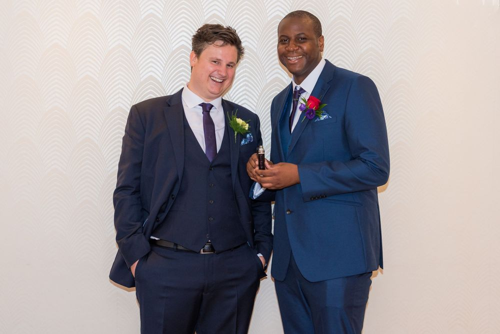 groom and best man at Bromley Court Hotel