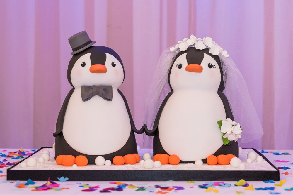 penguin wedding cake at Bromley Court Hotel