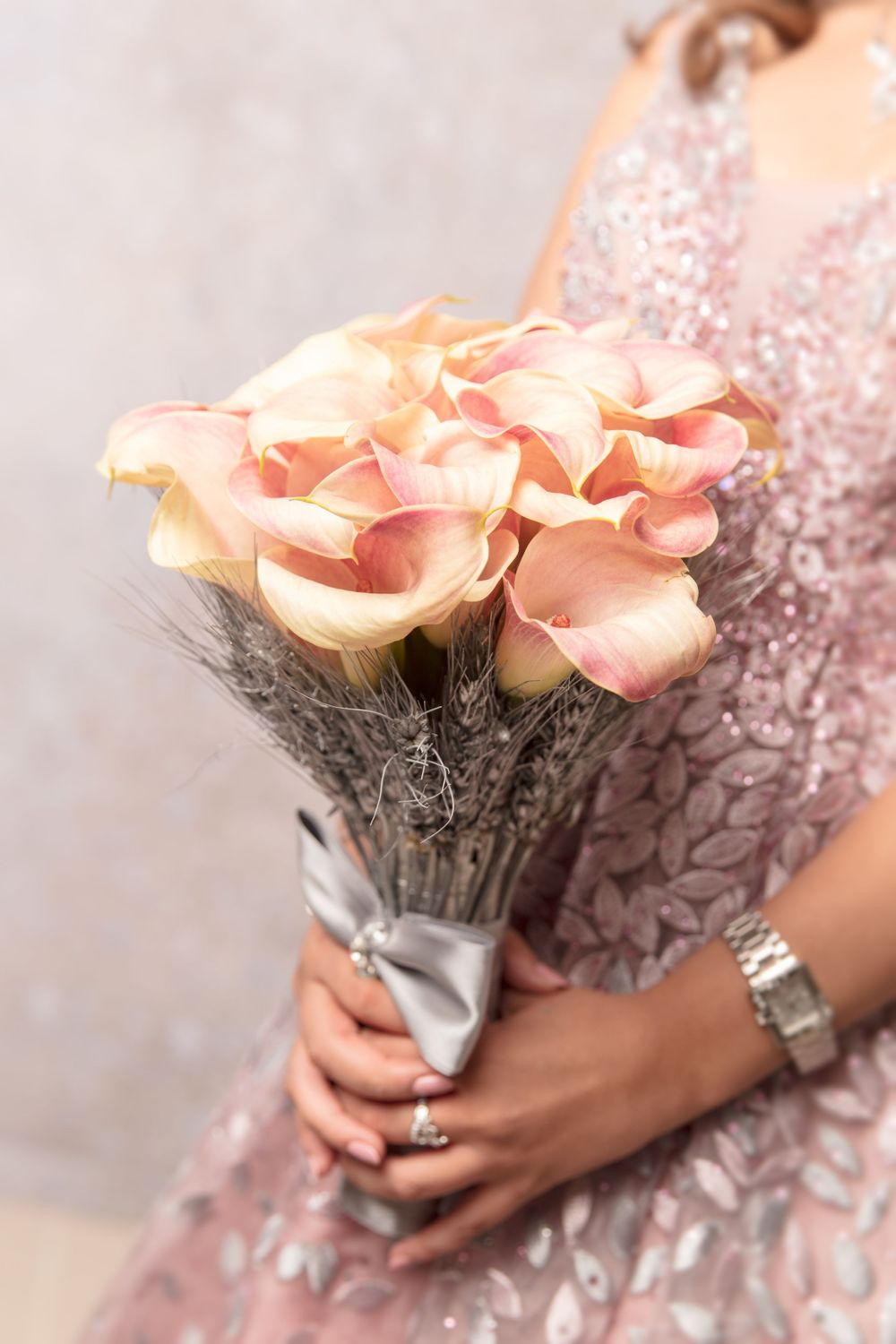 peach colour bridal bouquet