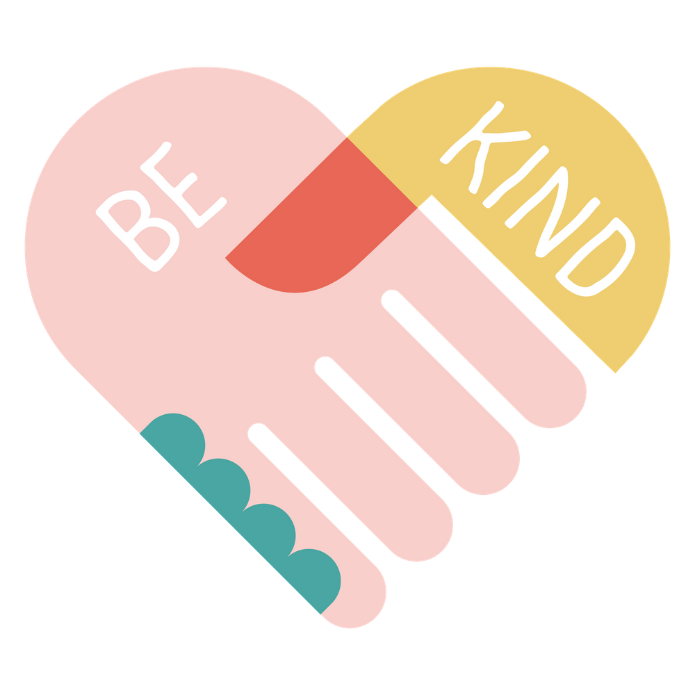 be kind holding hands graphic icon
