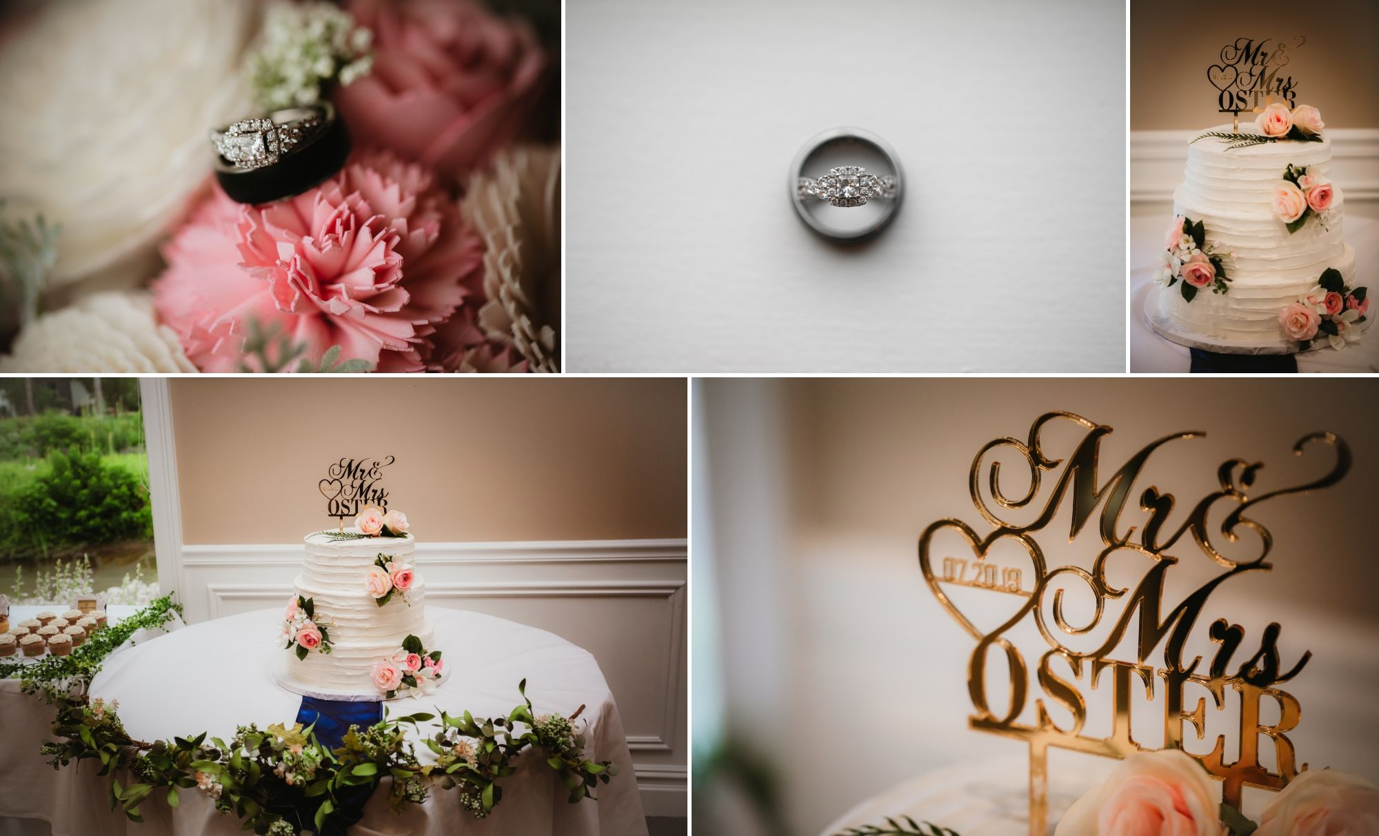 Photos of the wedding rings, pink flowers, wedding cake, and gold cake topper.