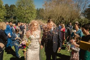 Bride and Groom confetti at The Hare and Hounds Tetbury