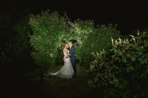Nightime portrait at Kingscote Barn Wedding