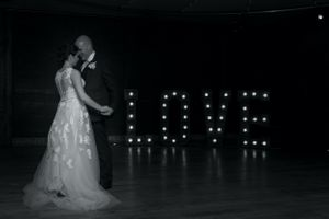 First dance with love sign at Elmore Court