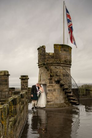 Wedding couple Dundas castle tower