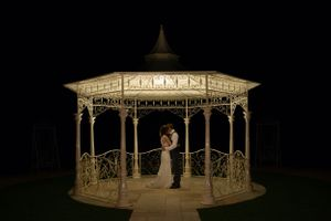 Bandstand bride and groom Manor by the Lake