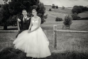 Just married at Kingscote Barn, Gloucestershire