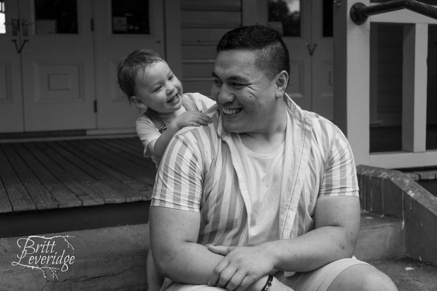 Black and white portrait of father with daughter - Masterton NZ