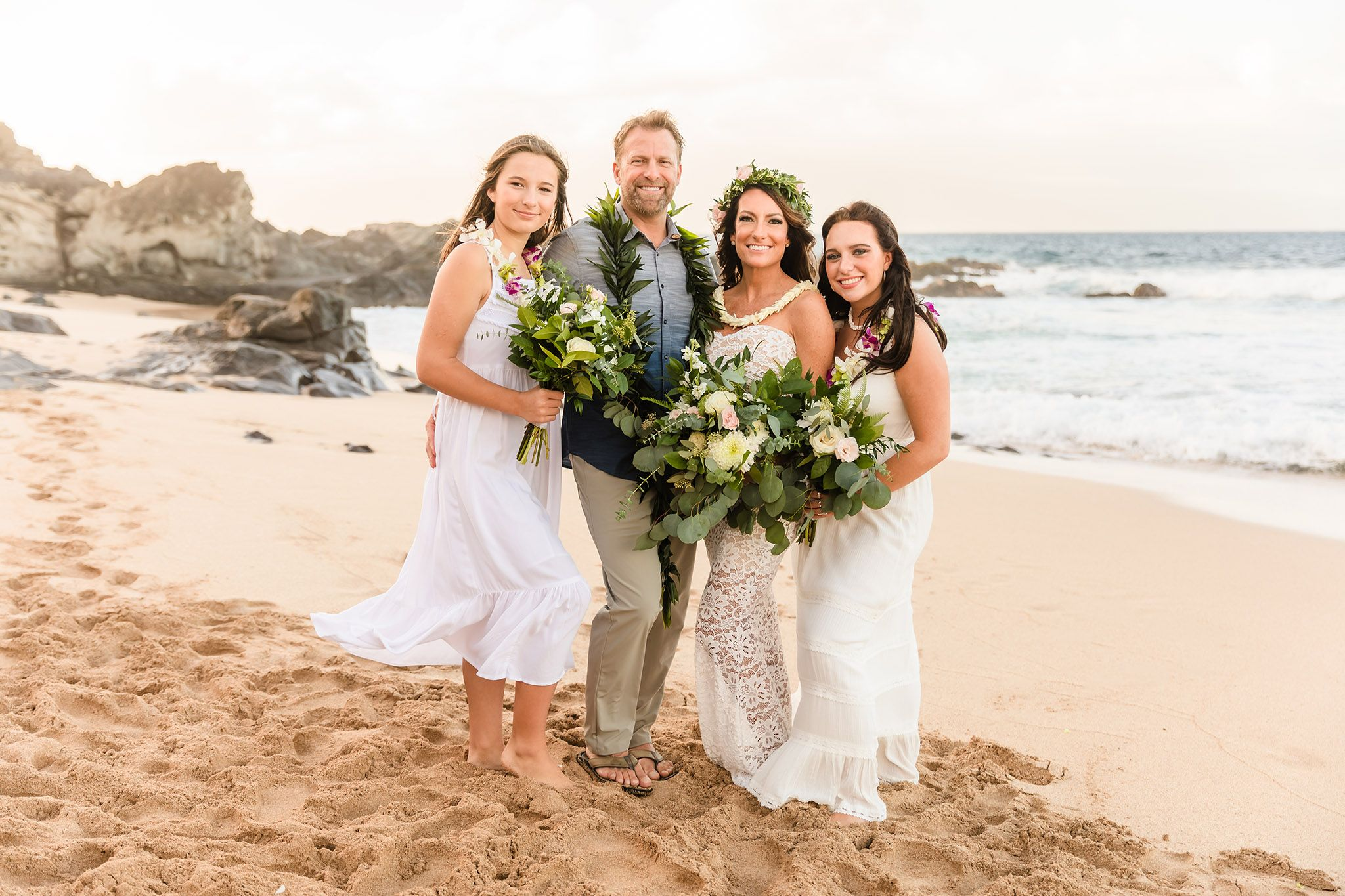 family beach wedding