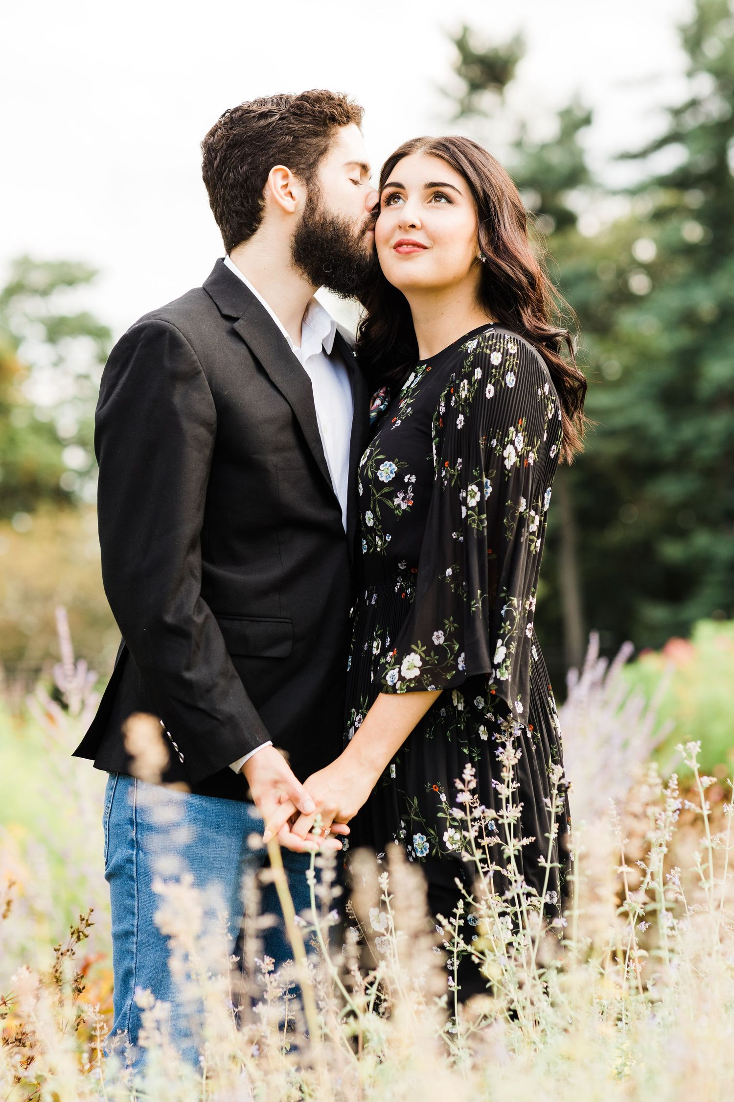 Couple's engagement photos in Hartwood Acres Garden