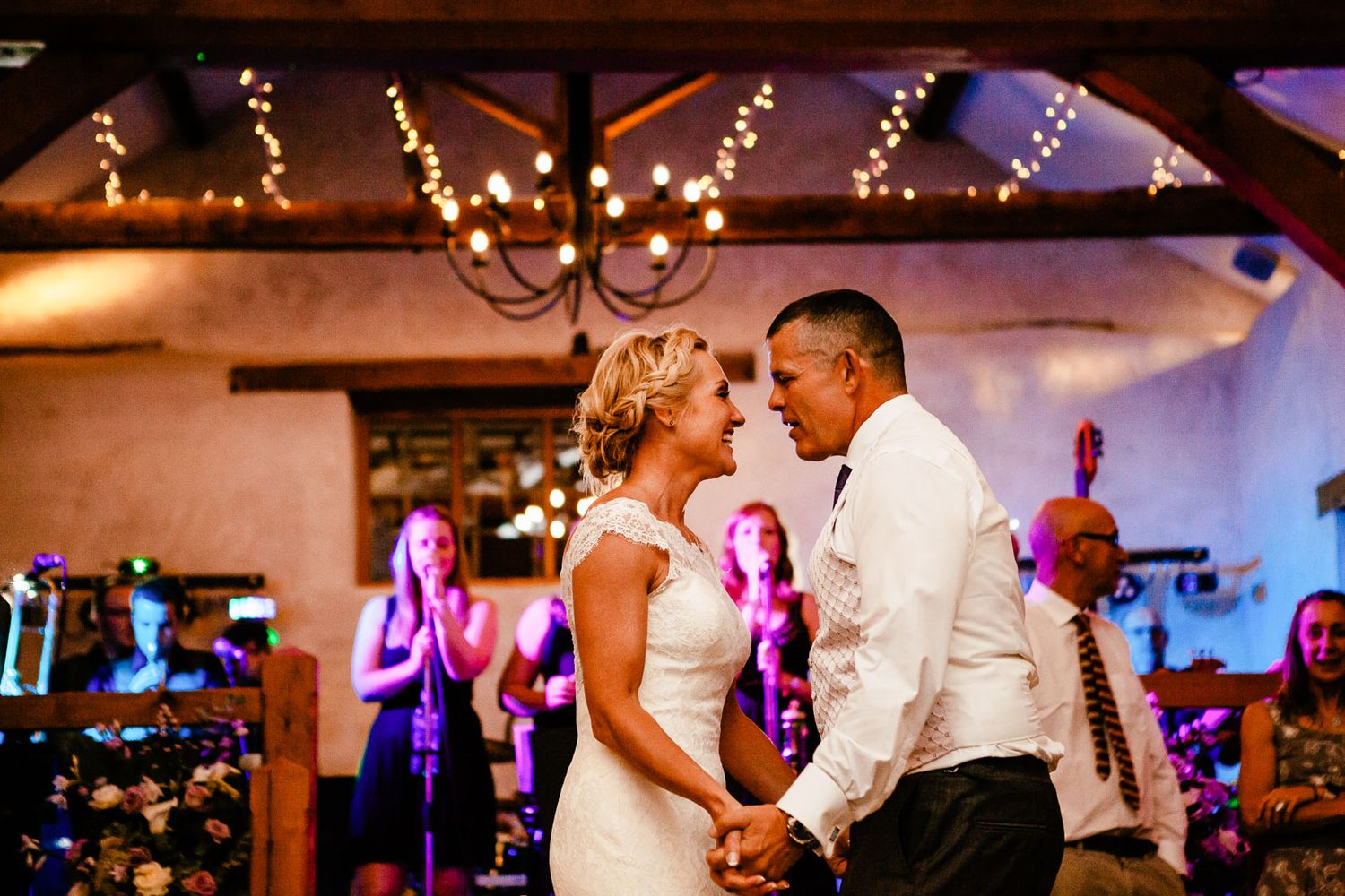 photography of first dance at Upton Barn wedding