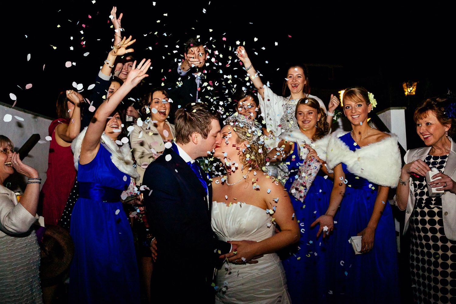 reportage wedding photography in Devon and Cornwall. confetti at night