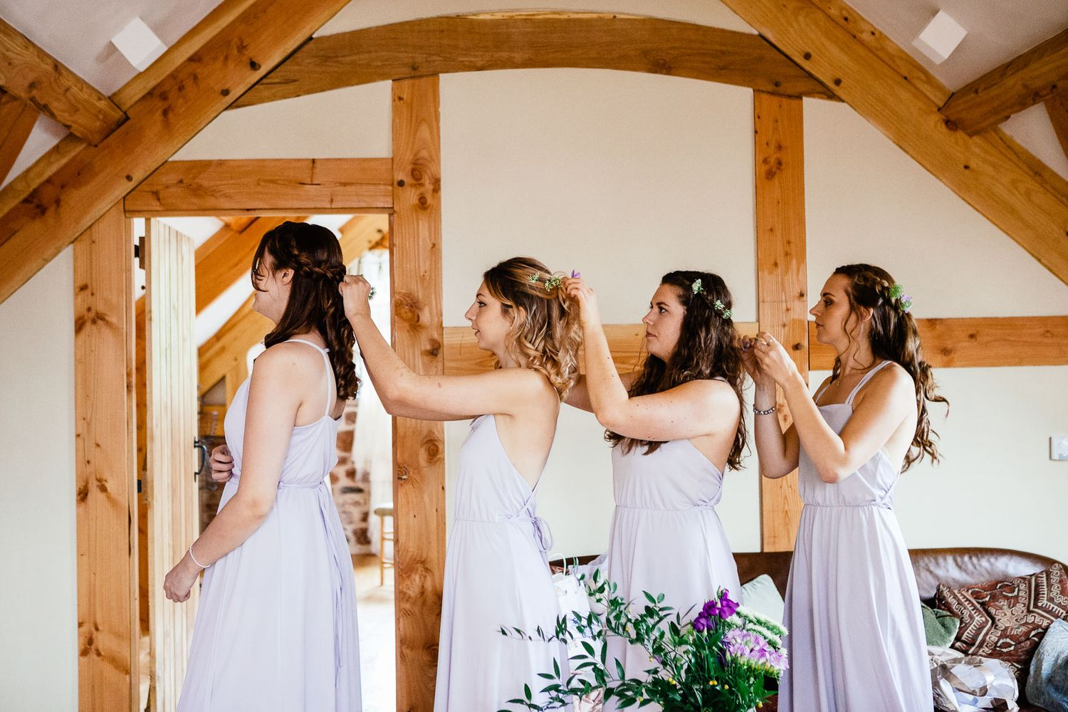 bridesmaids getting ready at the Oak Barn in Devon