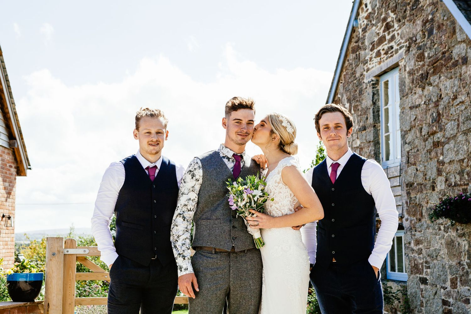 bridal party creative wedding photography Devon