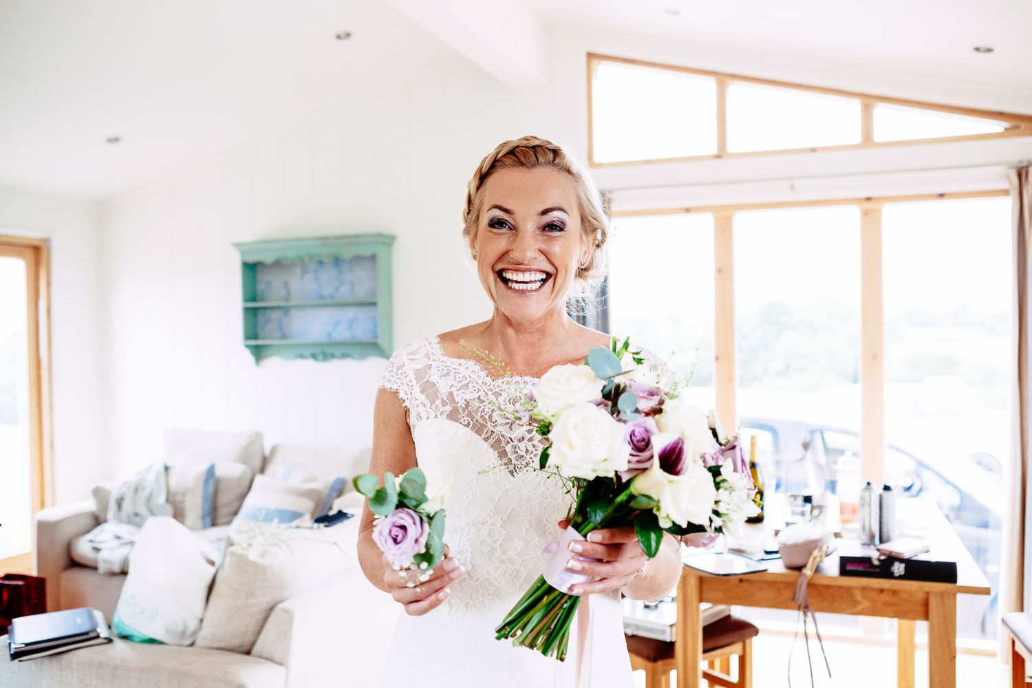 smiling bride in Devon