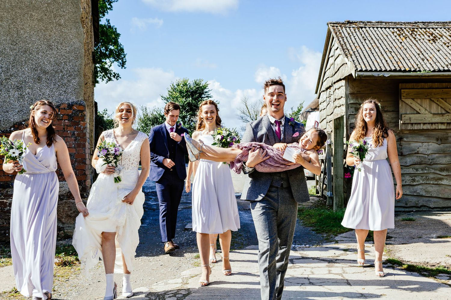 creative wedding photograph of bridal party by Tuscany based wedding photographer