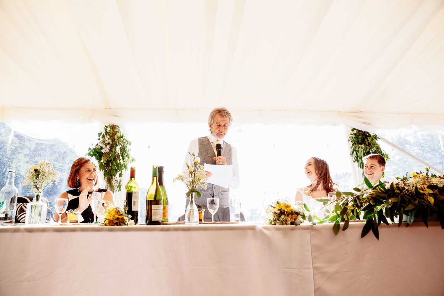 father of the bride gives a speech at Devon wedding