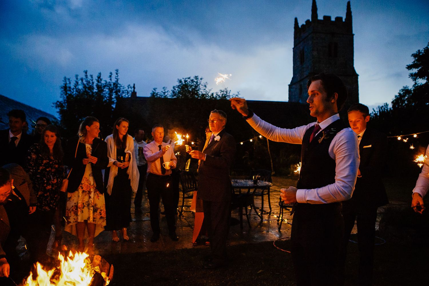 sparklers at Devon wedding