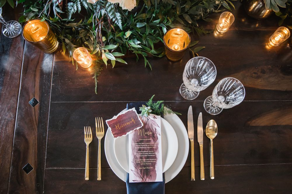 Wedding table set up, rustic, marsala and navy