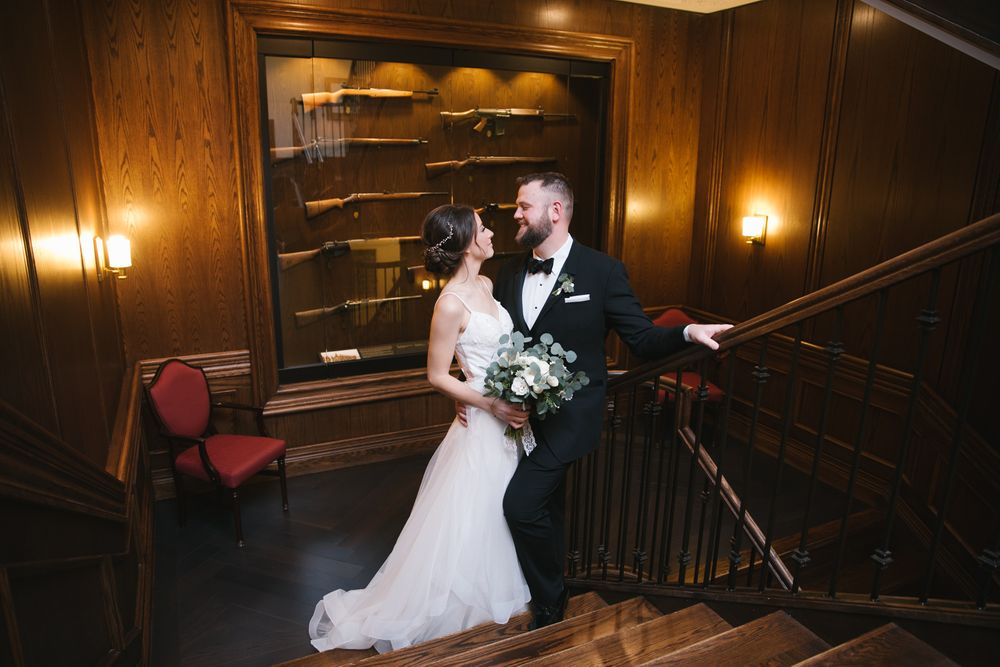 royal Canadian military institute staircase wedding in Toronto