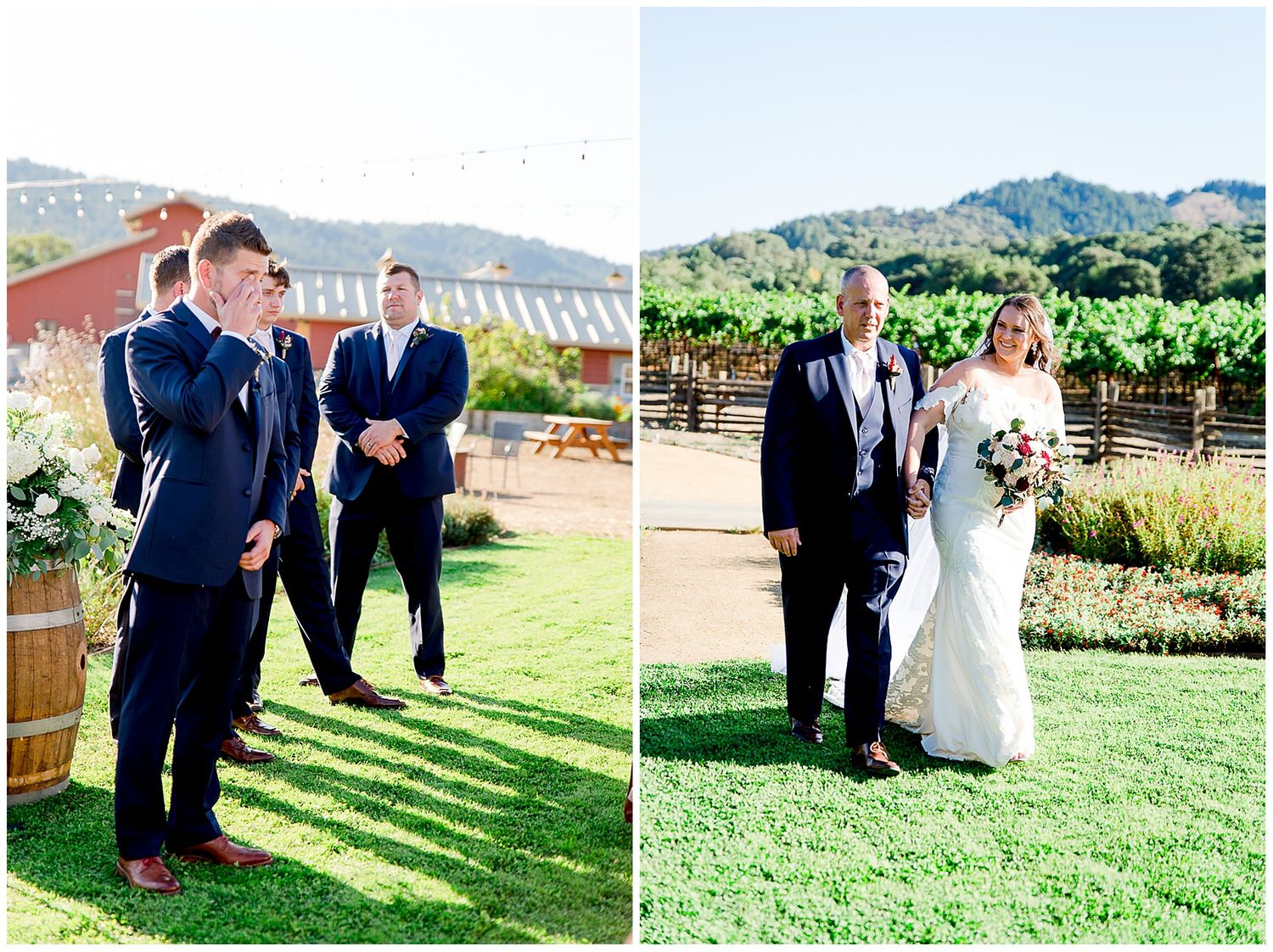 groom in navy suit crying as he sees bride and father walking down the aisle at Pennyroyal Farm