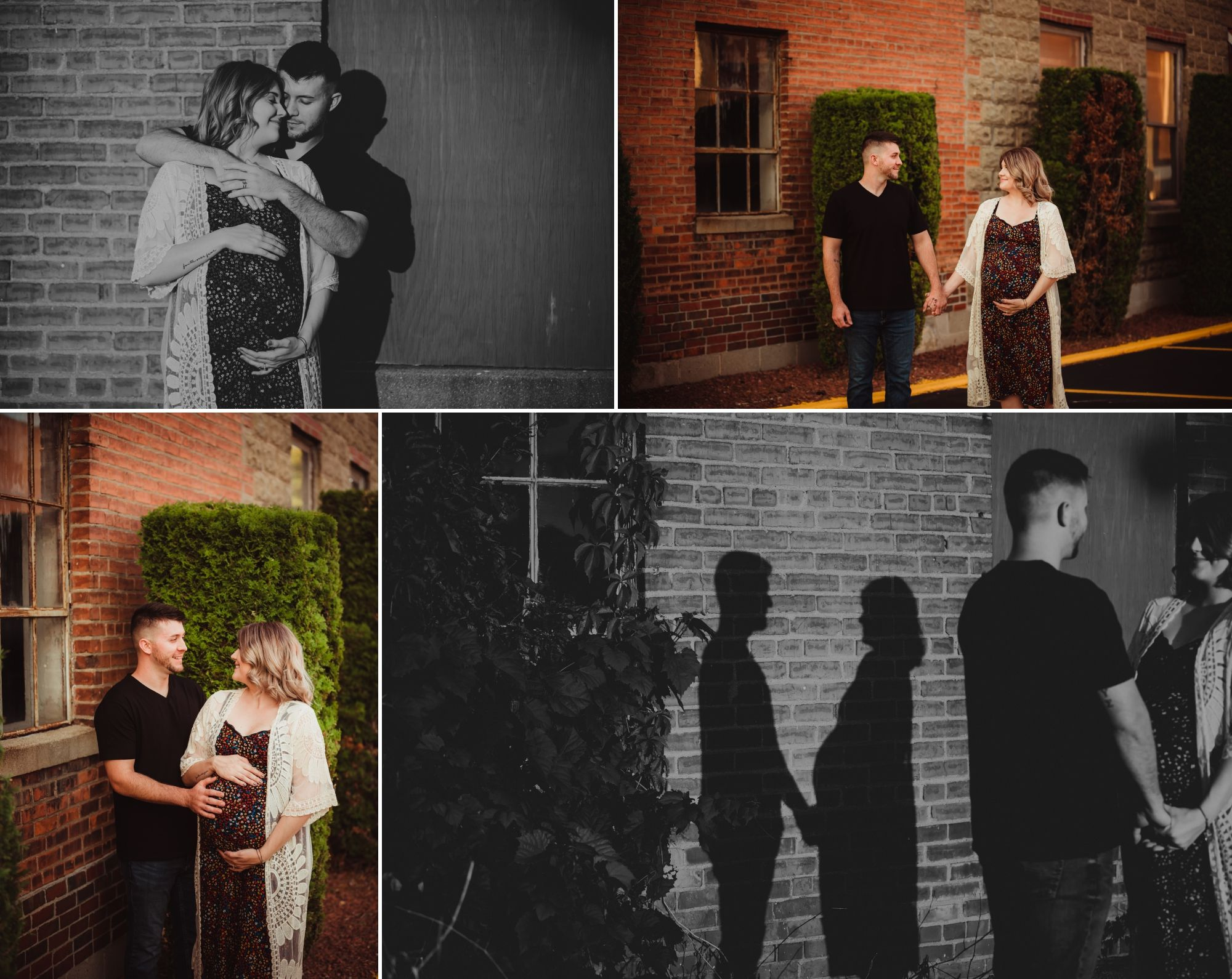 Photos of a man and a pregnant woman standing in front of brick walls downtown with their shadows behind them.