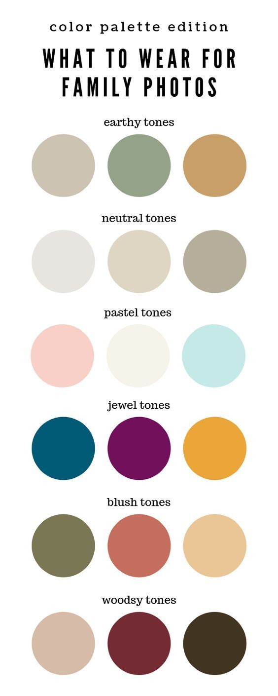 A color palette infographic helping families decide what to wear for family photos.