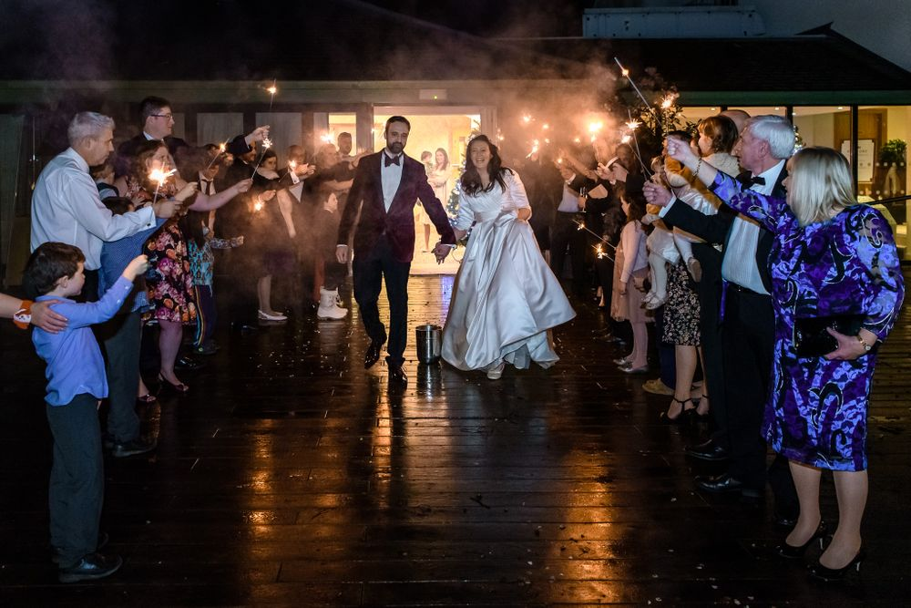 Sparkler send off at Armathwaite Hall wedding