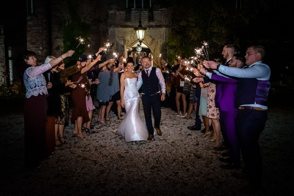 Sparkler exit at Augill Castle wedding