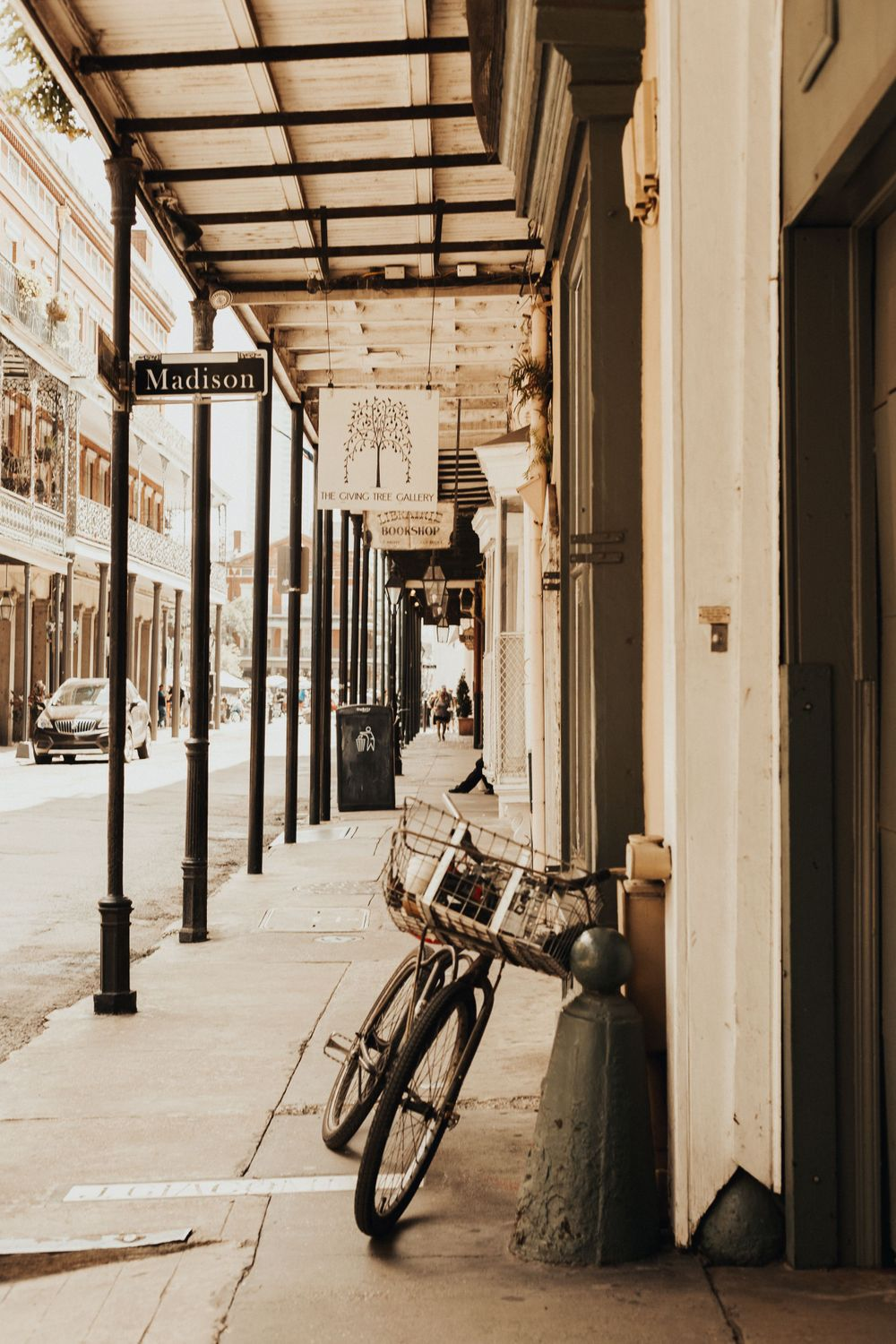 bike leaning up against a wall on a side street in the French Quarter