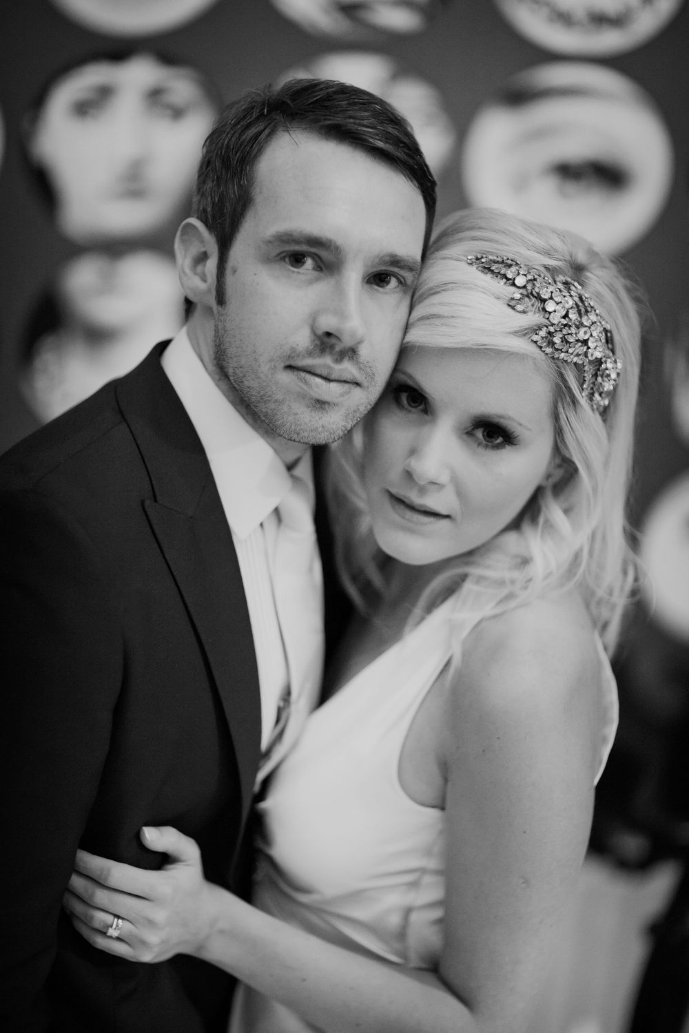 My wedding, black & white wedding image, Jenny Packham bride, Jenny Packham headpiece