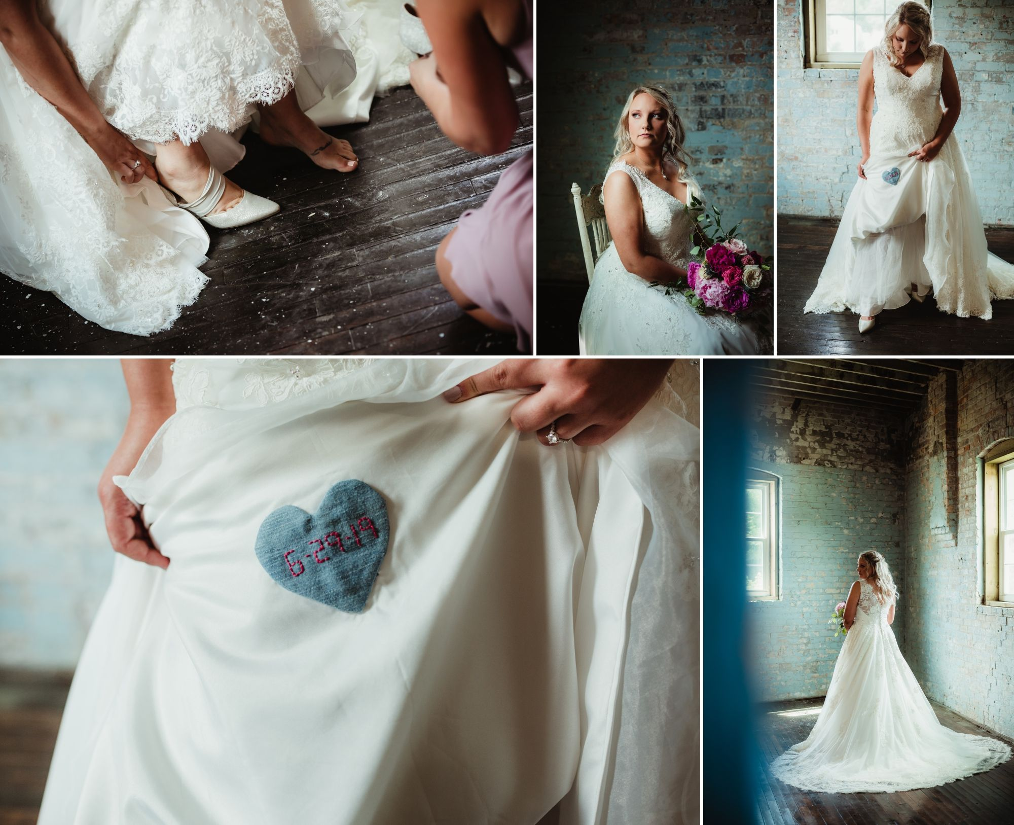Collage of bride in old blue brick building. A heart of her late father's shirt sewn into her dress.