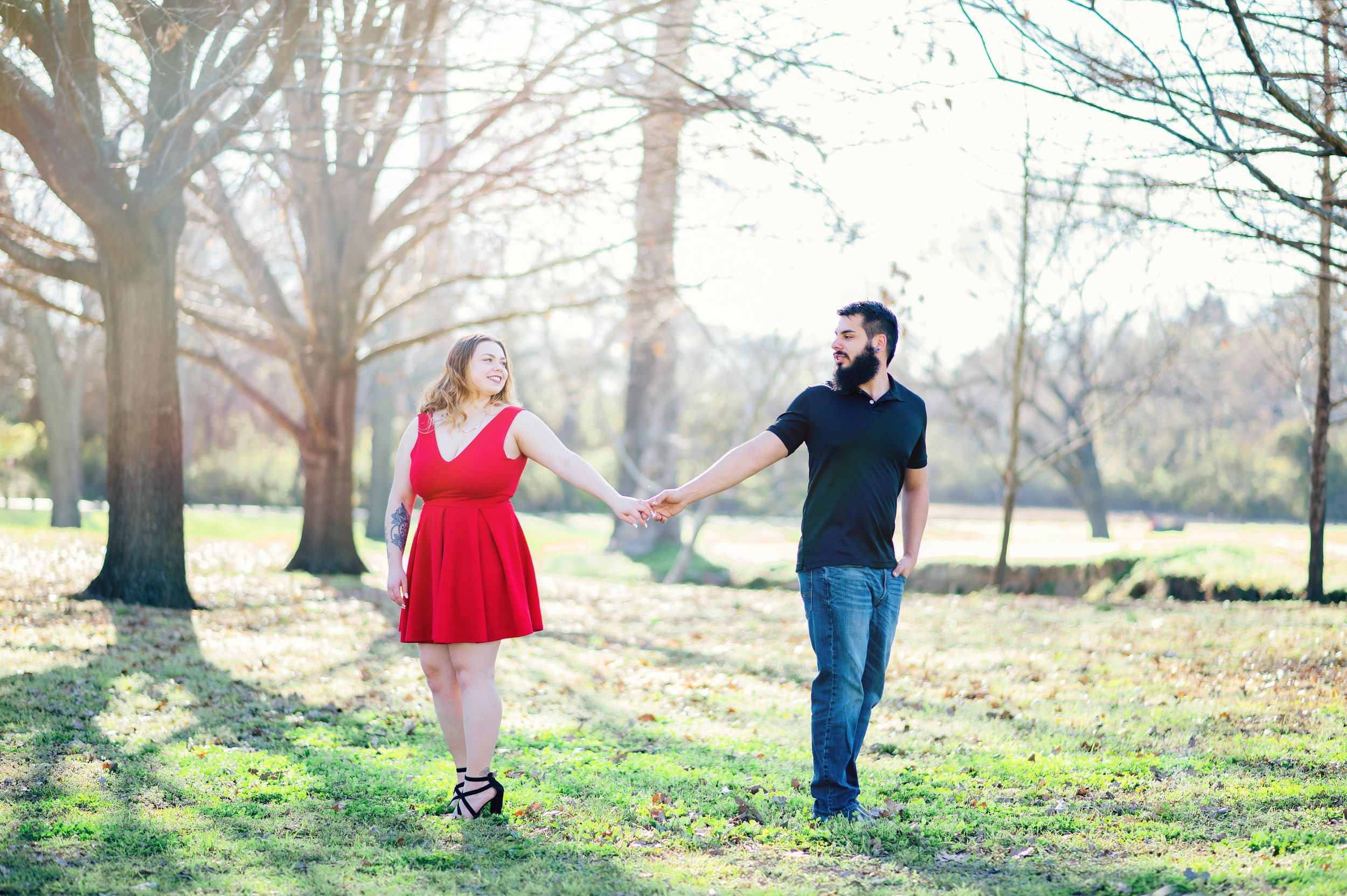Engagement photo at White rock park dallas