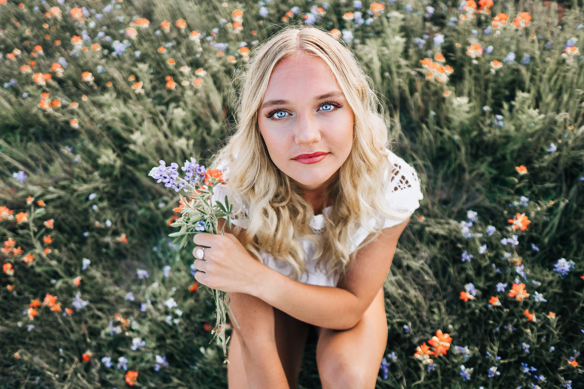 Young Girl In a Flower Field In Oklahoma City | Leah Gunn Photography