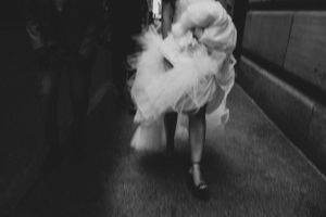 bride walking in montreal