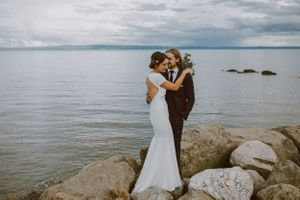 bride and groom intimate Charlevoix wedding elopement