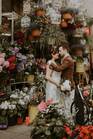 elopement in montreal streets dragon flowers