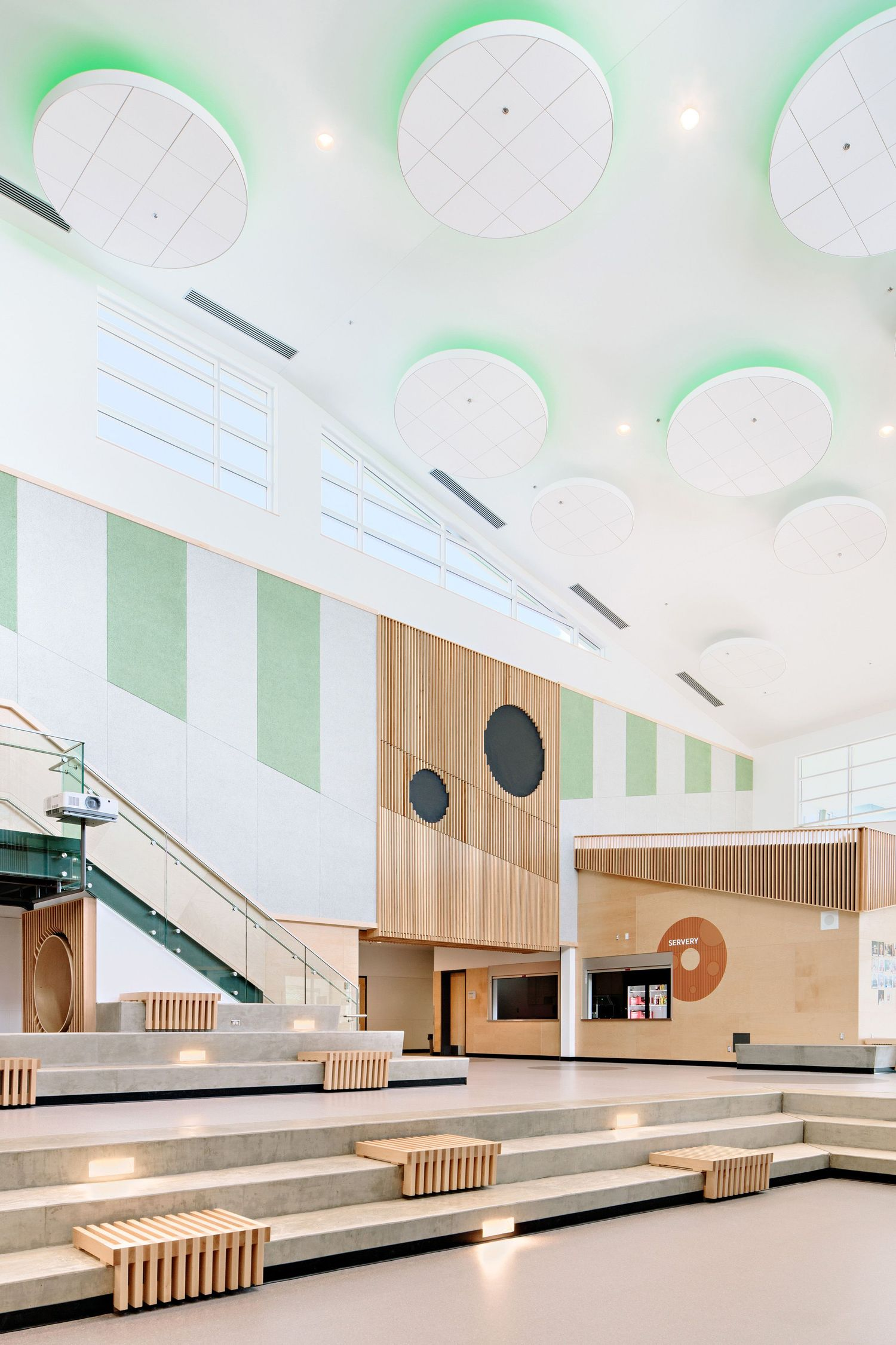 interior school ceiling light domes