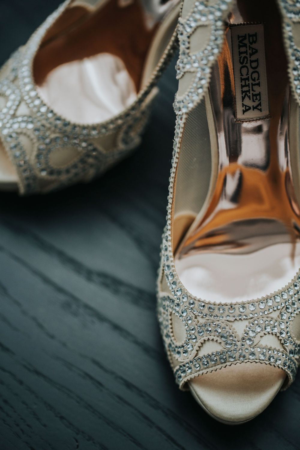 bride's beautiful shoes with jewels