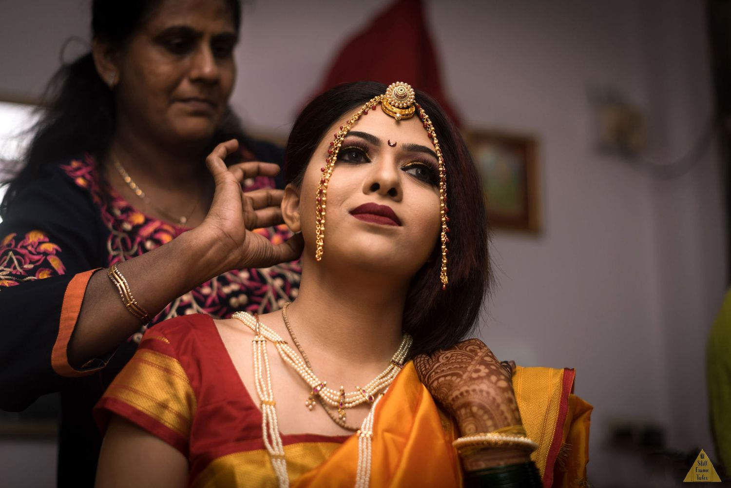 Elegant Indian bride getting ready for her wedding day