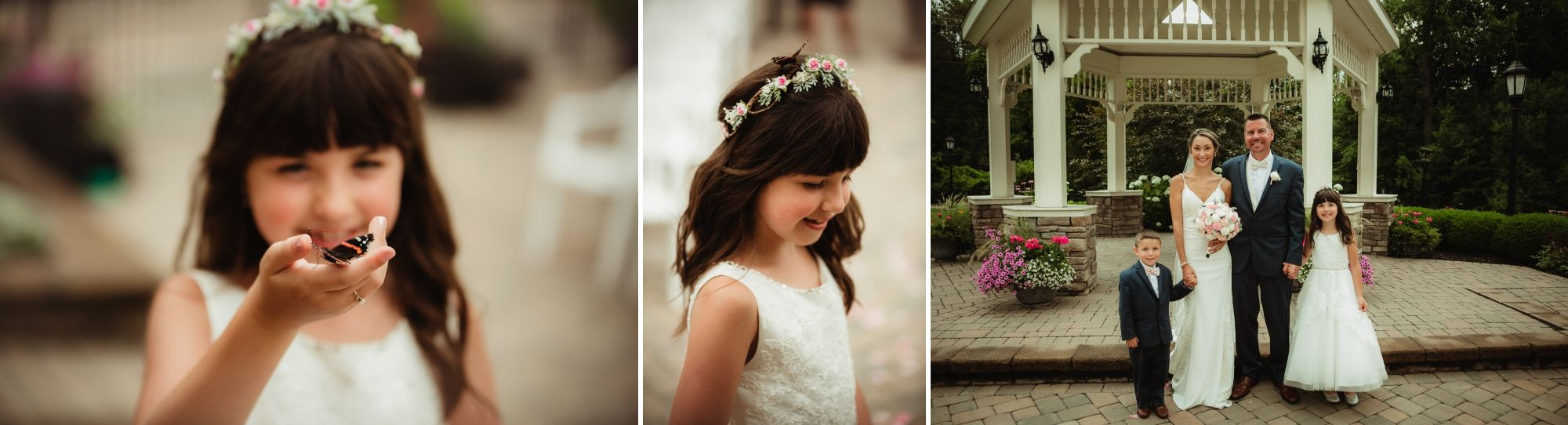 Photos of the flower girl with butterflies and the bride and groom with their two children.