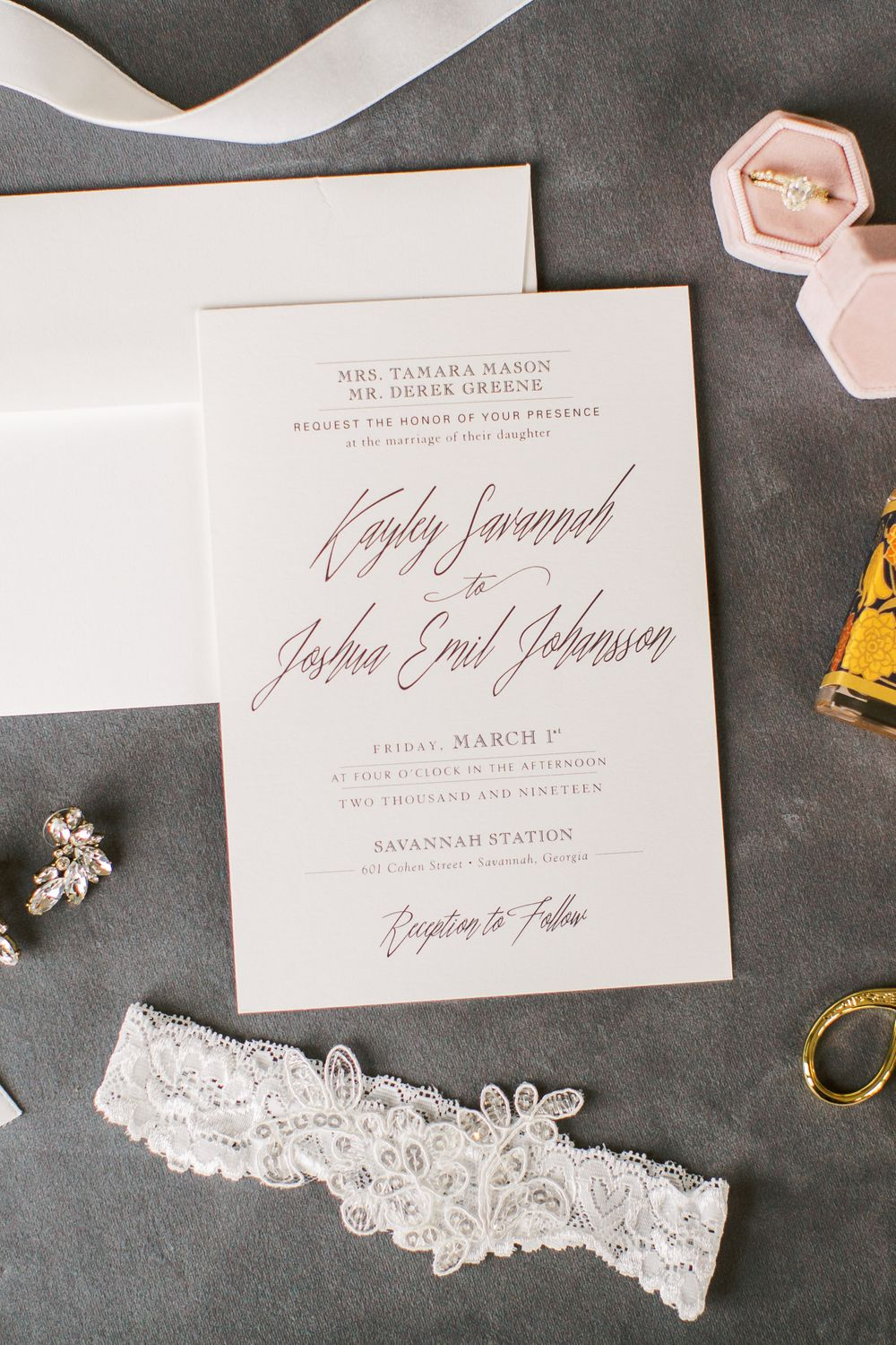minted wedding invitations styled at the homewood suites in downtown savannah, ga