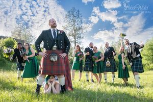 funny wedding bridal party photography by luba Irish wedding in Spokane groom in quilt