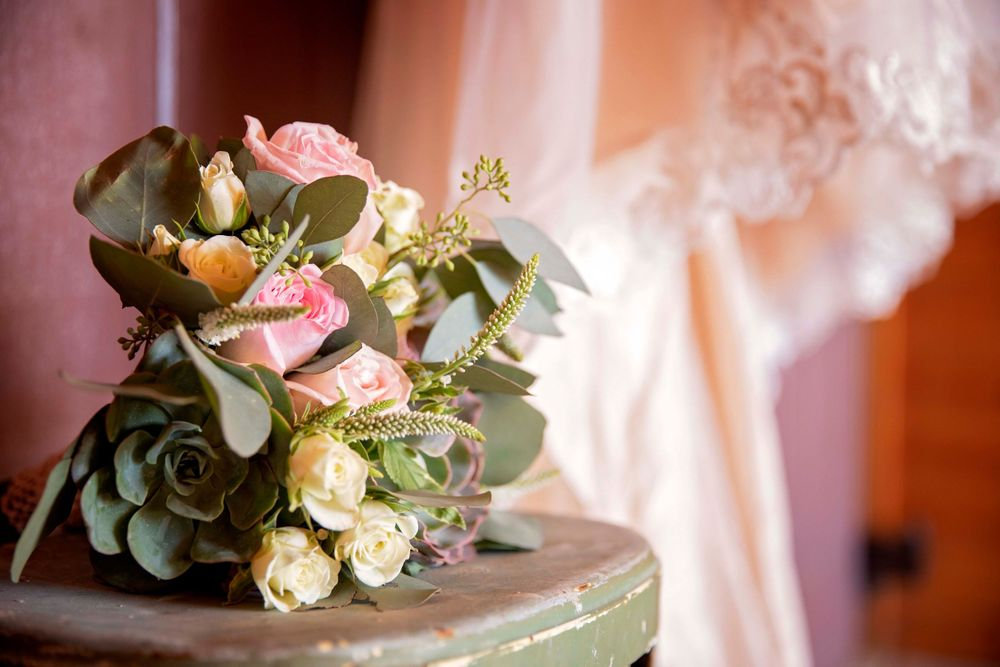 bride's bouquet on a vintage step stool