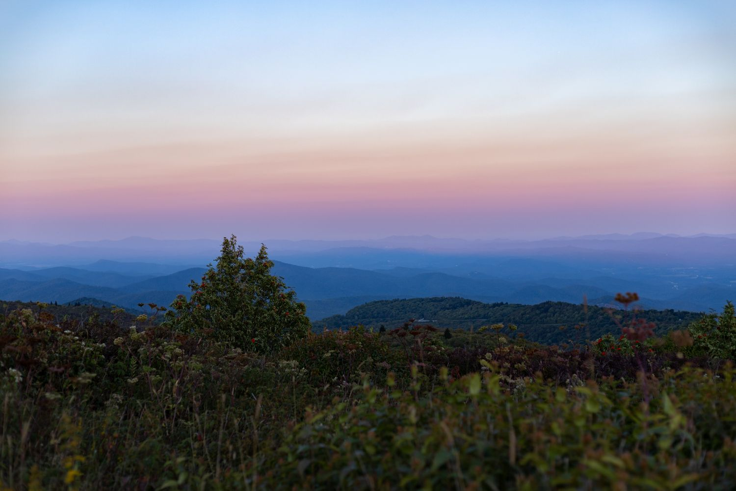 A sunset view of the Blue Ridge Parkway near Asheville, NC.