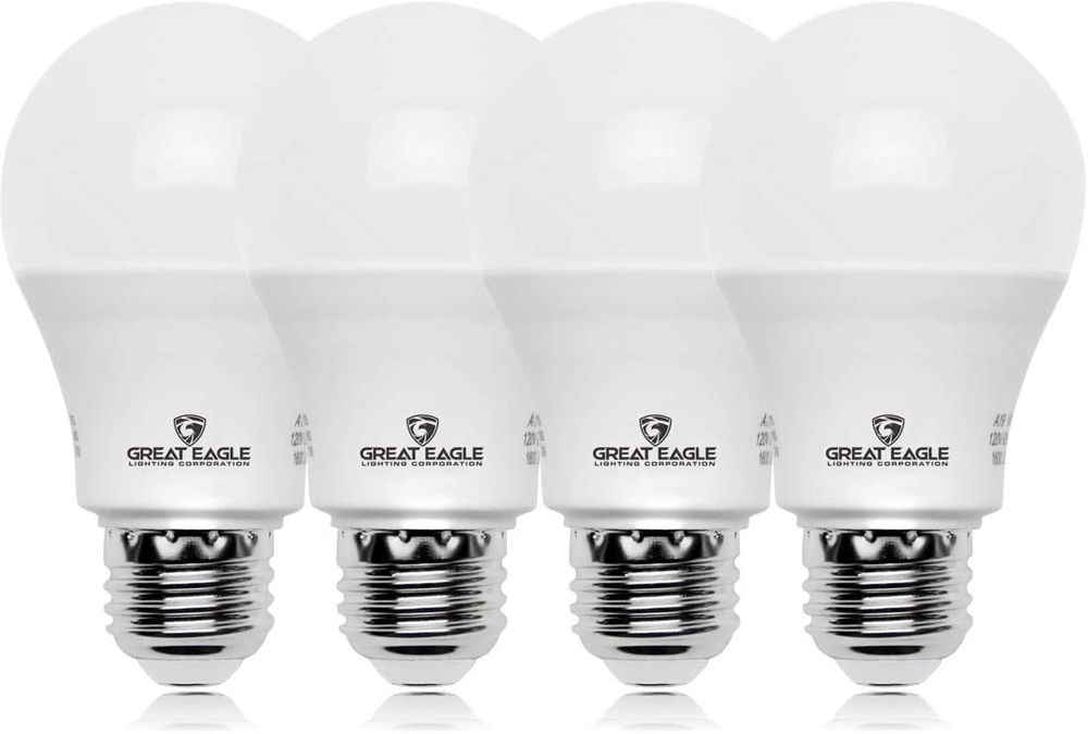 Great Eagle A19 LED Light Bulb, 9W (60W Equivalent), UL Listed, 4000K (Cool White), 825 Lumens, Non-dimmable, Standard R