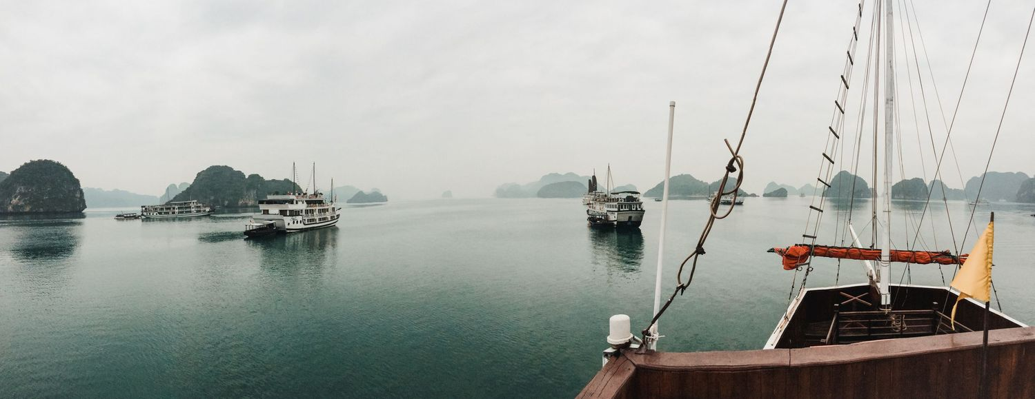 Panoramic view from a boat in Halong bay, Vietnam.