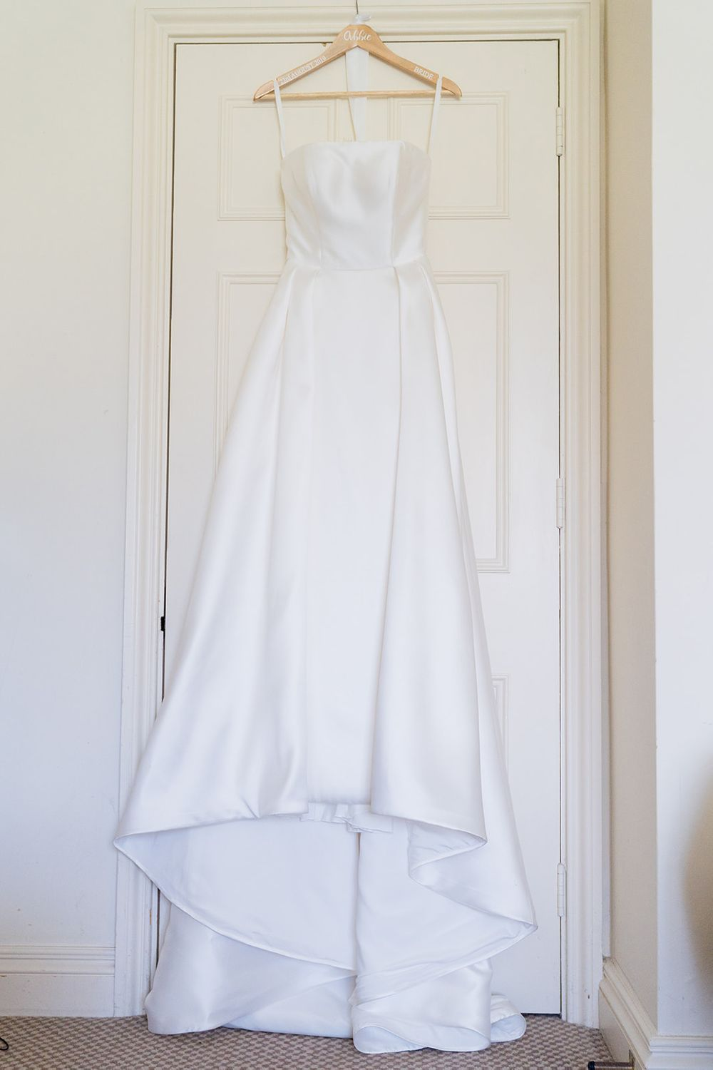 simple white strapless wedding gown