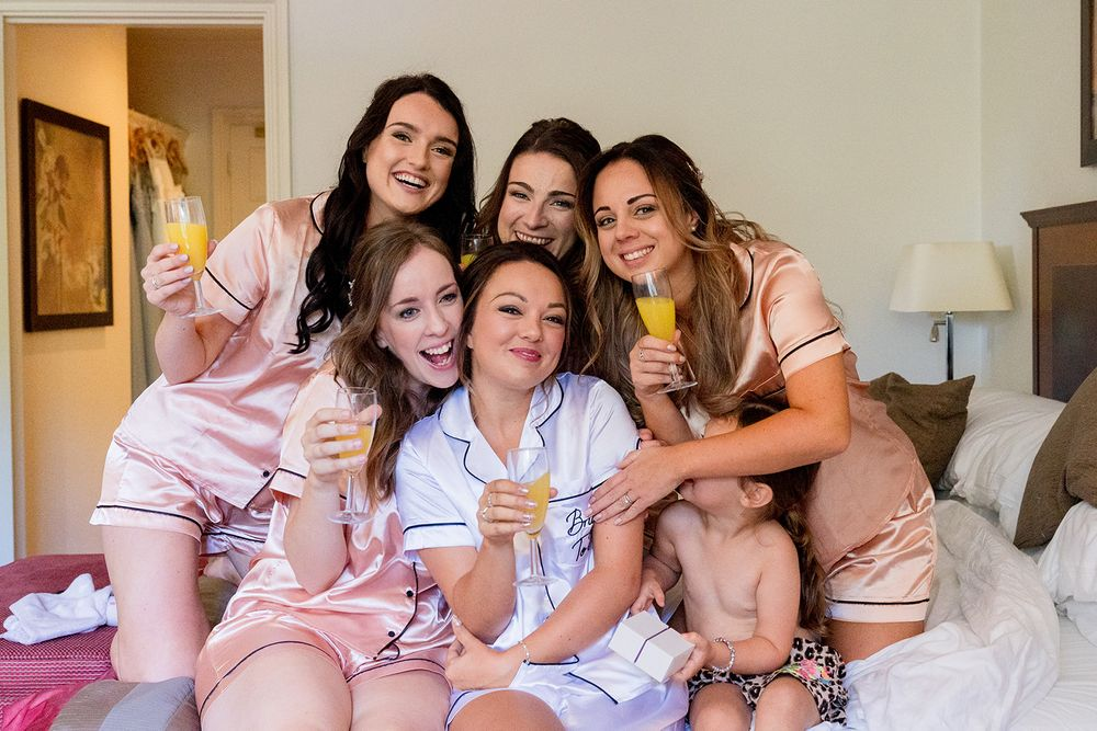 bride and bridesmaid group photos pyjamas